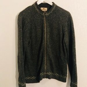 Woolrich zip front wool blend sweater with trim